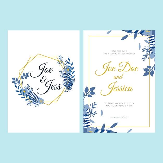 Kwiatowy Szablon Zaproszenia ślubne Premium Wektorów
