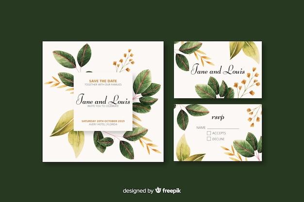 Kwiatowy szablon zaproszenia ślubne Darmowych Wektorów