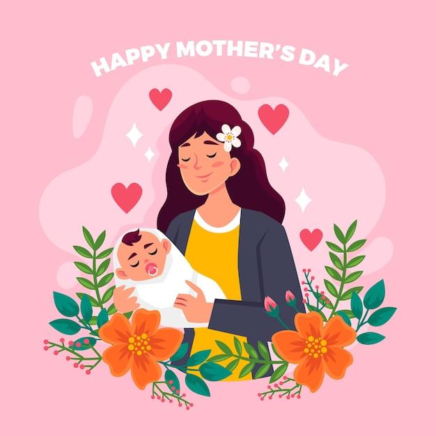 Kwiatowy Szczęśliwy Dzień Matki I Kobieta Z Dzieckiem Darmowych Wektorów