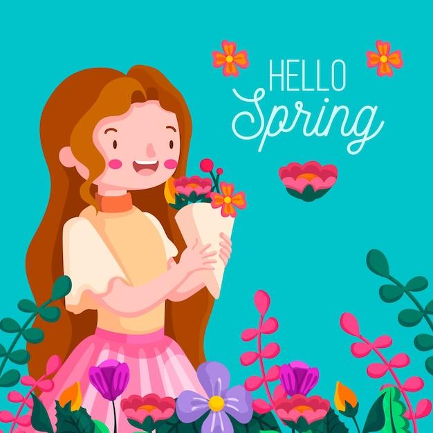 Kwiatowy Tło Wiosna Cześć Z Dziewczyną Darmowych Wektorów