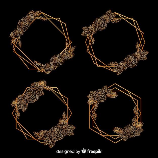 Kwiatowy w kolekcji złotej ramie geometrycznej Darmowych Wektorów