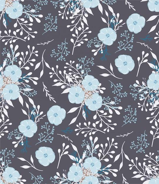 Kwiatowy wektor wzór z małych kwiatów i liści. Premium Wektorów