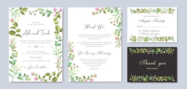 Kwiatowy wesele zaproszenie szablon karty z wieniec kwiatowy Premium Wektorów