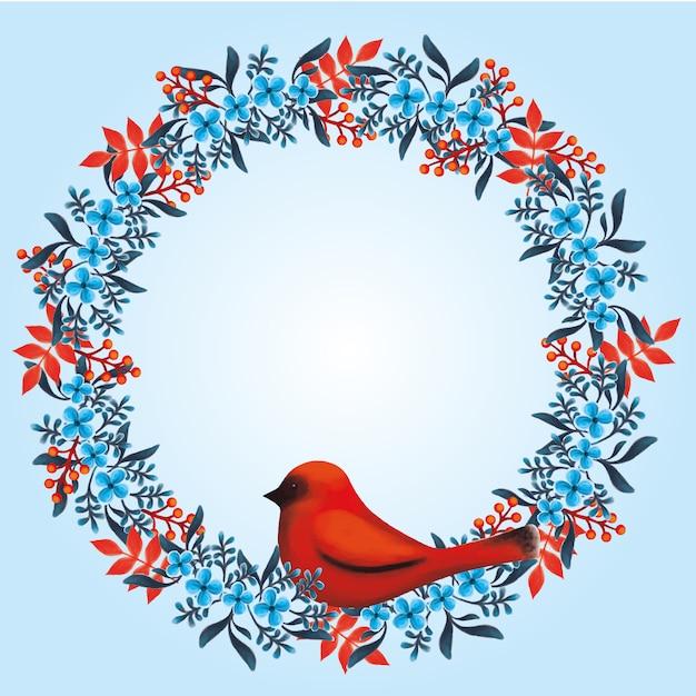 Kwiatowy Wianek Z Niebieskimi I Czerwonymi Kwiatami I Czerwonym Ptakiem Premium Wektorów