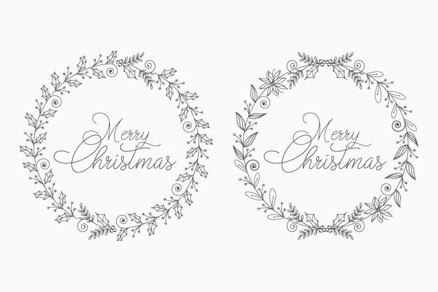 Kwiatowy Wieniec Bożonarodzeniowy Na Koncepcję Abstrakcyjną I Dekoracyjną Premium Wektorów
