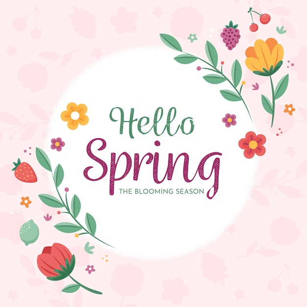 Kwiatowy Witaj Wiosna Tło Darmowych Wektorów