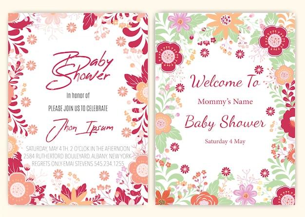 Kwiatowy wystrój karty baby shower. Premium Wektorów