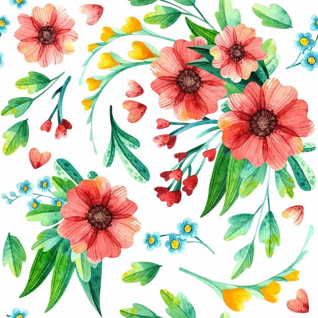 Kwiatowy Wzór, Botaniczna Akwarela. Darmowych Wektorów