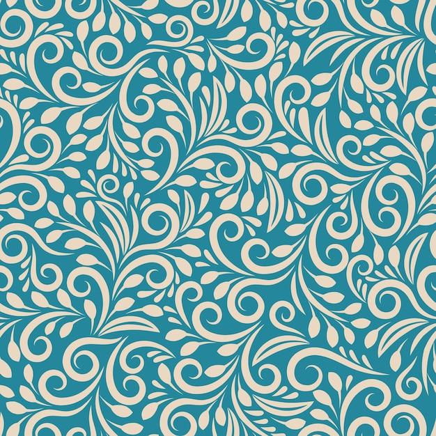 Kwiatowy Wzór Na Jednolitym Tle. Ozdoba Darkcyan, Projekt Tkaniny Artystycznej, Modny Kontur Darmowych Wektorów