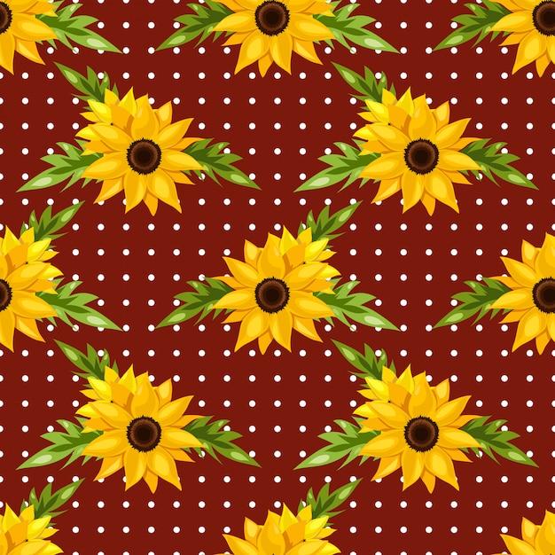 Kwiatowy wzór słoneczników. Premium Wektorów