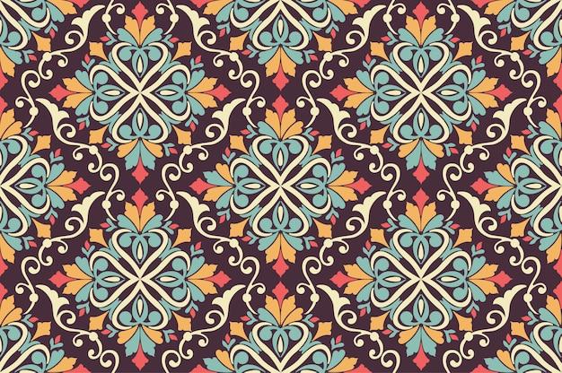 Kwiatowy Wzór Tła W Stylu Arabskim. Arabeskowy Wzór. Wschodni Ornament Etniczny. Elegancka Tekstura Dla Tła. Darmowych Wektorów