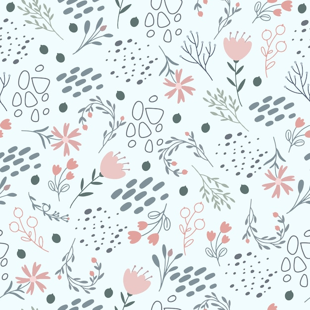 Kwiatowy Wzór W Delikatnych Pastelowych Kolorach Darmowych Wektorów