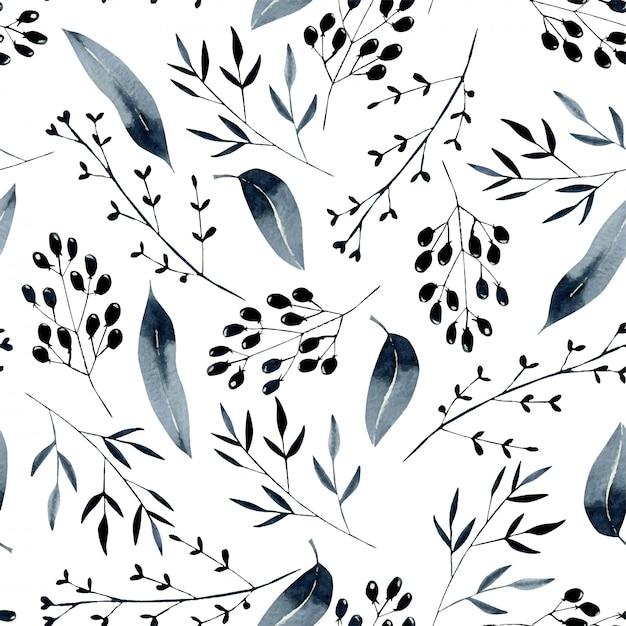 Kwiatowy wzór z akwarela niebieskie gałęzie Premium Wektorów