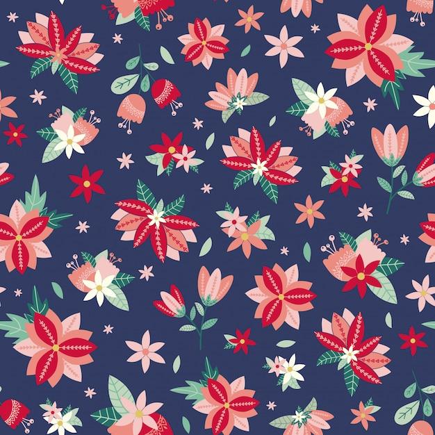 Kwiatowy wzór z kwiatów i liści Premium Wektorów