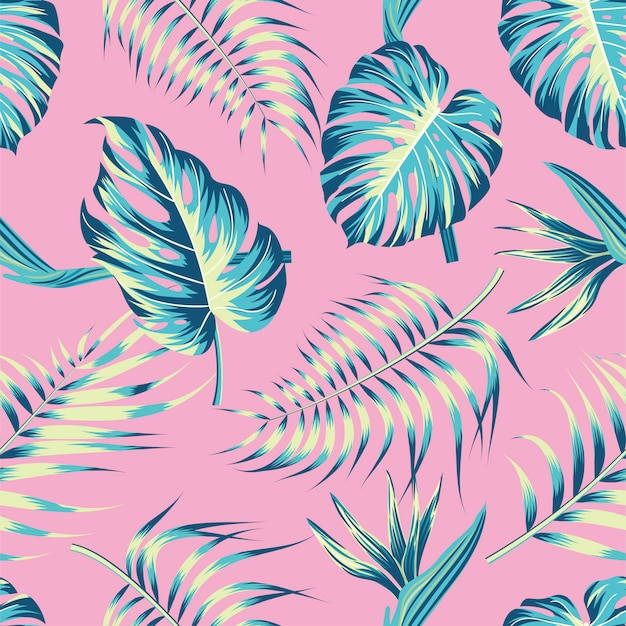 Kwiatowy wzór z liści. tropikalny tło Premium Wektorów