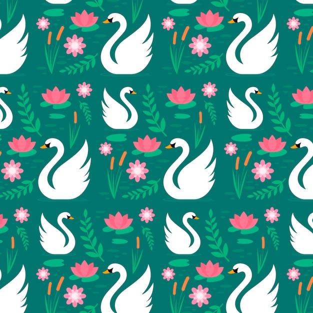 Kwiatowy Wzór Z Wdzięcznymi Białymi łabędziami Darmowych Wektorów