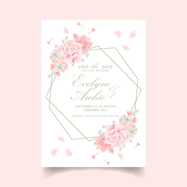 Kwiatowy zaproszenie na ślub z sukulenty Premium Wektorów