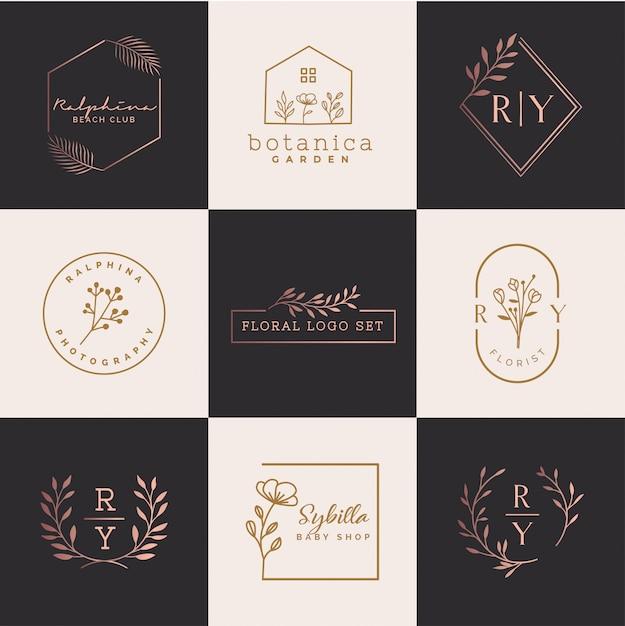 Kwiatowy zestaw logo Premium Wektorów