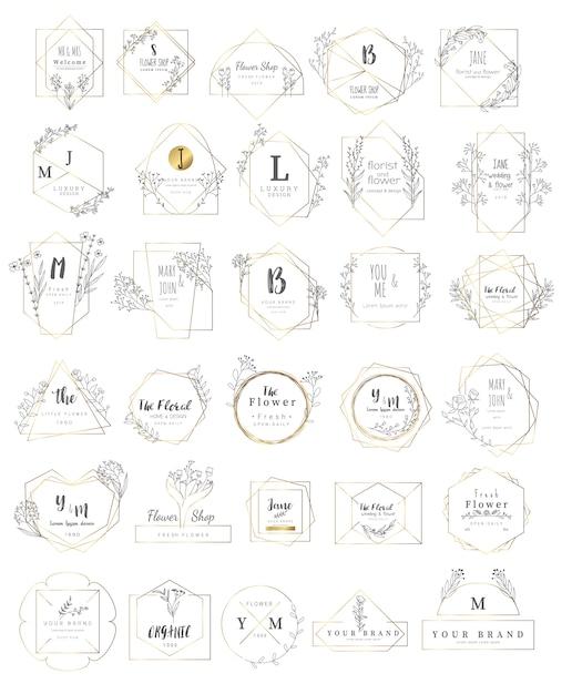 Kwiatowy zestaw ramek na ślub Premium Wektorów