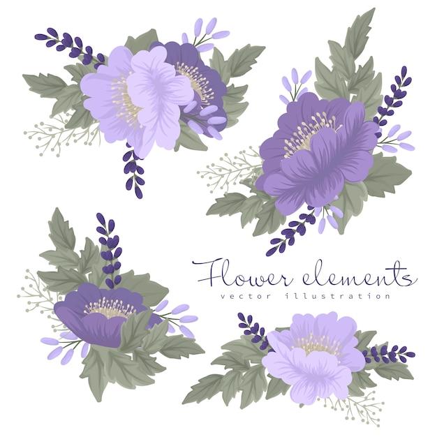 Kwiaty fioletowe i fioletowe clipart Darmowych Wektorów