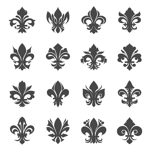 Kwiaty Francuskiej Lilii Królewskiej. Heraldyka Sylwetka Dekoracje Kwiatowe, Ilustracji Wektorowych Darmowych Wektorów