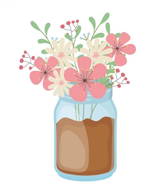 Kwiaty i liście w wazonie Premium Wektorów