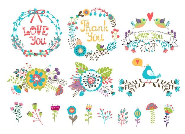 Kwiaty I Wieńce Na Zaproszenia. Zestaw Kolorowych Elementów Wyciągniętych Z Roślin I Kwiatów Do Dekoracji Darmowych Wektorów