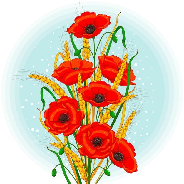 Kwiaty Maku I Kłosy Pszenicy Premium Wektorów