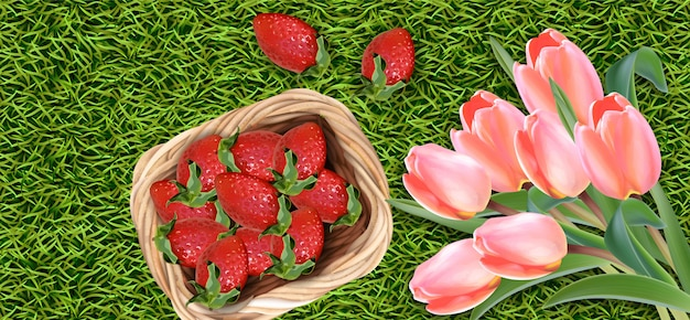 Kwiaty tulipanów i truskawki Premium Wektorów