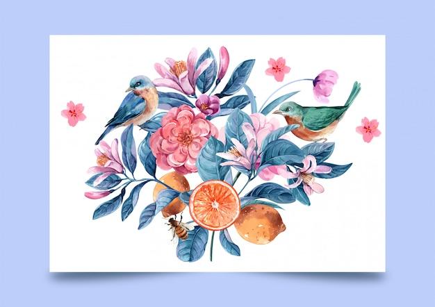 Kwiaty w akwarela do ilustracji Premium Wektorów