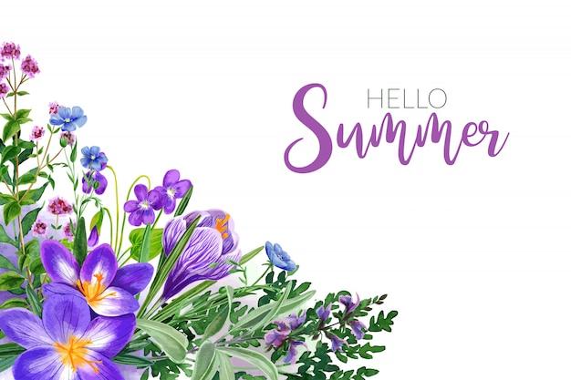 Kwiaty W Polu Akwareli, Jasne Odcienie Fioletu, Rama Narożna Premium Wektorów