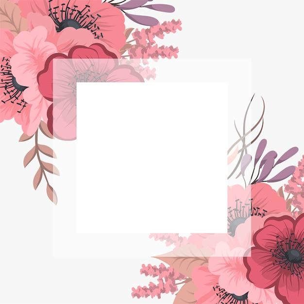 Kwiecista rama z kolorowym kwiatem. Darmowych Wektorów