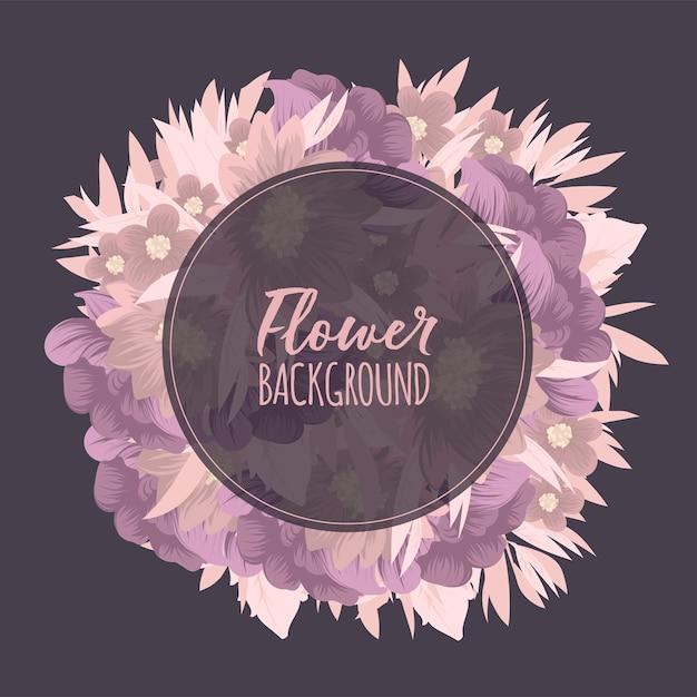 Kwiecista Rama Z Kolorowym Kwiatem Darmowych Wektorów