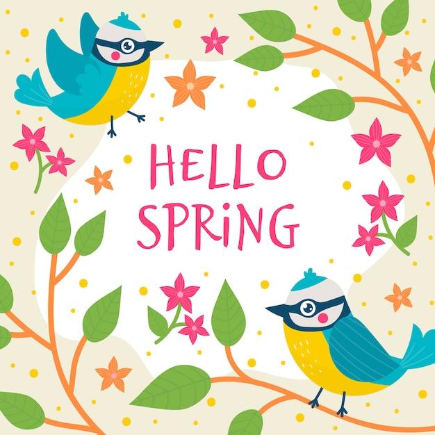 Kwiecisty Cześć Wiosny Tło Z Ptakami Darmowych Wektorów