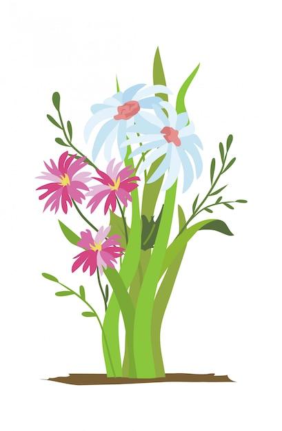 Kwietnik. Zestaw Dzikich Lasów I Kwiatów Ogrodowych. Koncepcja Wiosna Premium Wektorów