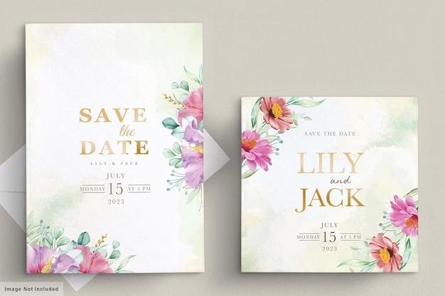 Kwitnąca Karta Kwiatowy ślub Ramki Darmowych Wektorów