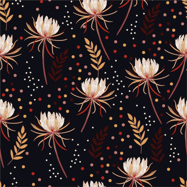 Kwitnące Kwiaty Kaktusa Botaniczne Z Kolorowymi Kropkami I Pozostawia Wzór Premium Wektorów