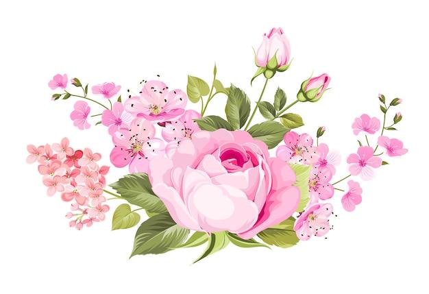 Kwitnące Wiosenne Kwiaty. Premium Wektorów