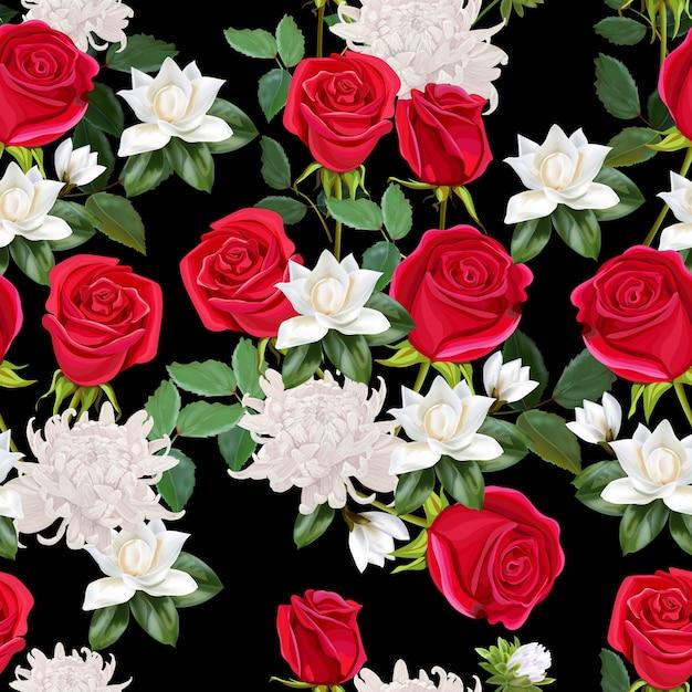 Kwitnie Piękny Bukiet Z Czerwonych Róż, Chryzantemy I Magnolii Bezszwowej Deseniowej Ilustraci Premium Wektorów