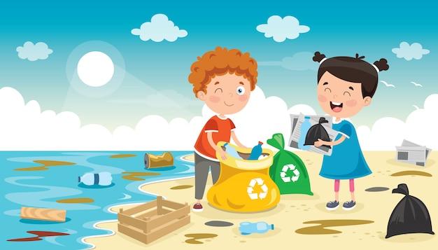 L, Ttle Dzieci Sprzątają Plażę Premium Wektorów