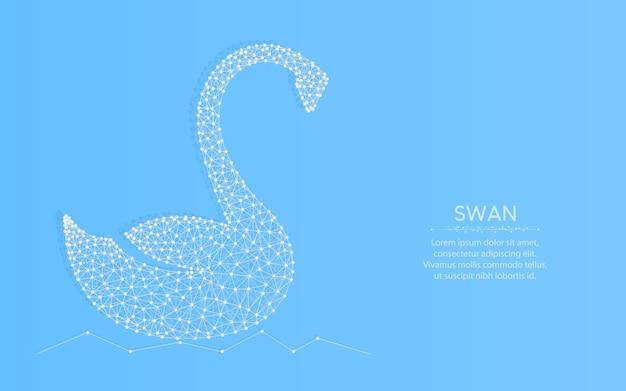 Łabędź Low Poly, Zwierzę Abstrakcyjne Geometryczne, Ptak Siatki Szkielet Wielokąta Ilustracja Wykonana Z Punktów I Linii Na Niebiesko Premium Wektorów