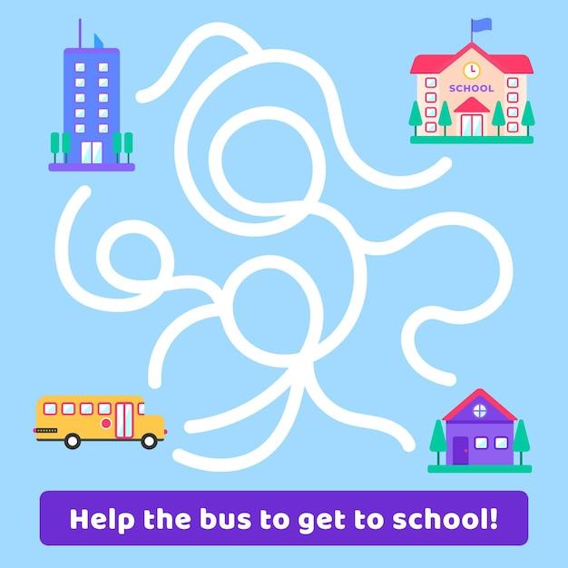 Labirynt Dla Dzieci Z Budynkiem Autobusu I Szkoły Darmowych Wektorów