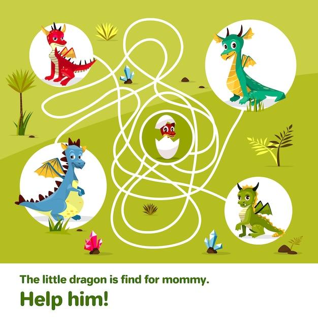 Labirynt Dzieci Gry Labirynt. Smoki Z Kreskówek, Pomagają Znaleźć Drogę Do Jajka Darmowych Wektorów