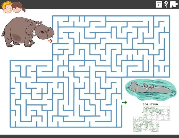 Labirynt Gra Edukacyjna Z Zabawnymi Postaciami Hipopotamów Premium Wektorów