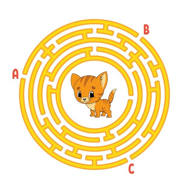 Labirynt Koła. Kot Zwierzę Gra Dla Dzieci. Puzzle Dla Dzieci. Okrągła Zagadka Labiryntowa. Premium Wektorów