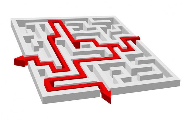 Labirynt - labirynt puzzle dla koncepcji rozwiązania lub sukcesu Premium Wektorów