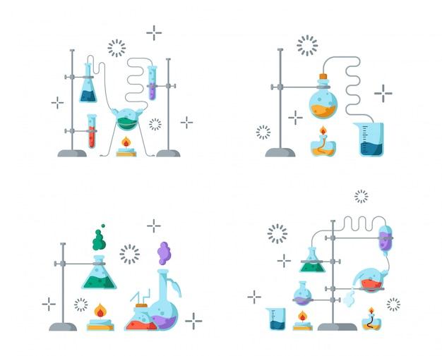 Laboratorium chemiczne i sprzęt do eksperymentu. pojęcie nauki i edukacji. szklane kolby i probówki Premium Wektorów
