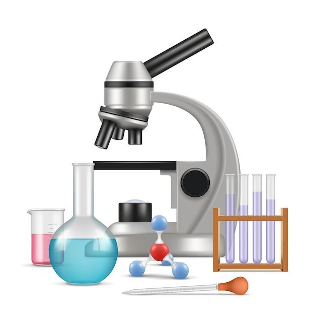 Laboratorium Naukowe 3d. Elementy Fizyki Biologii Do Testów I Eksperymentów W Szklanych Probówkach Mikroskopu Laboratoryjnego Wektor Realistyczny Skład Premium Wektorów