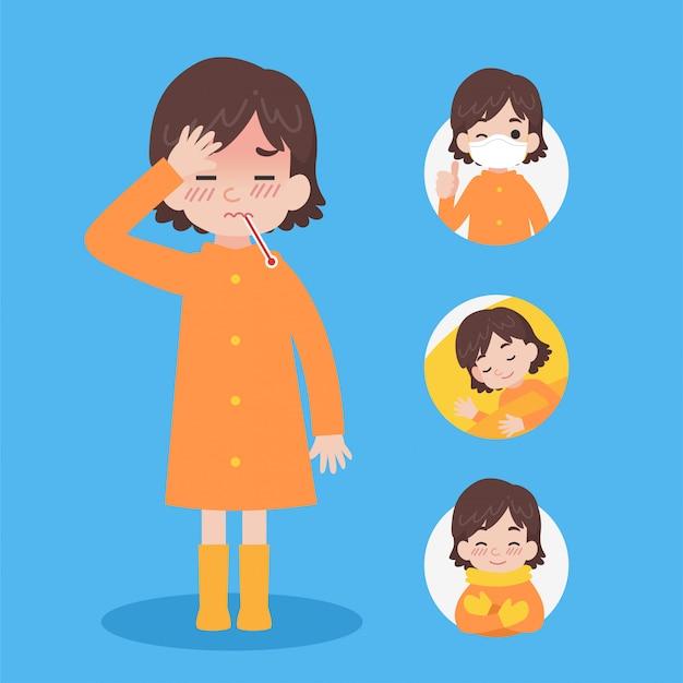 Ładna dziewczyna w pomarańczowym płaszczu przeciwdeszczowym ma chorego Premium Wektorów