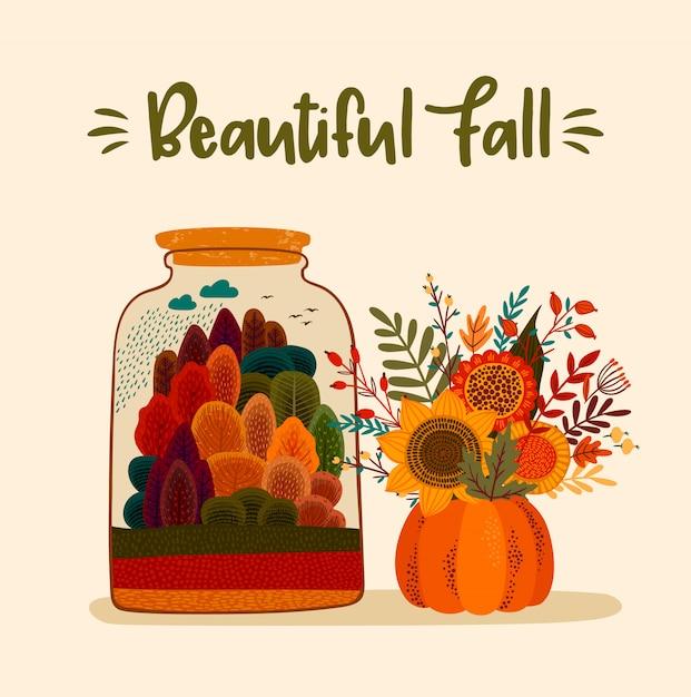 Ładna jesień. na kartę, plakat, ulotkę Premium Wektorów